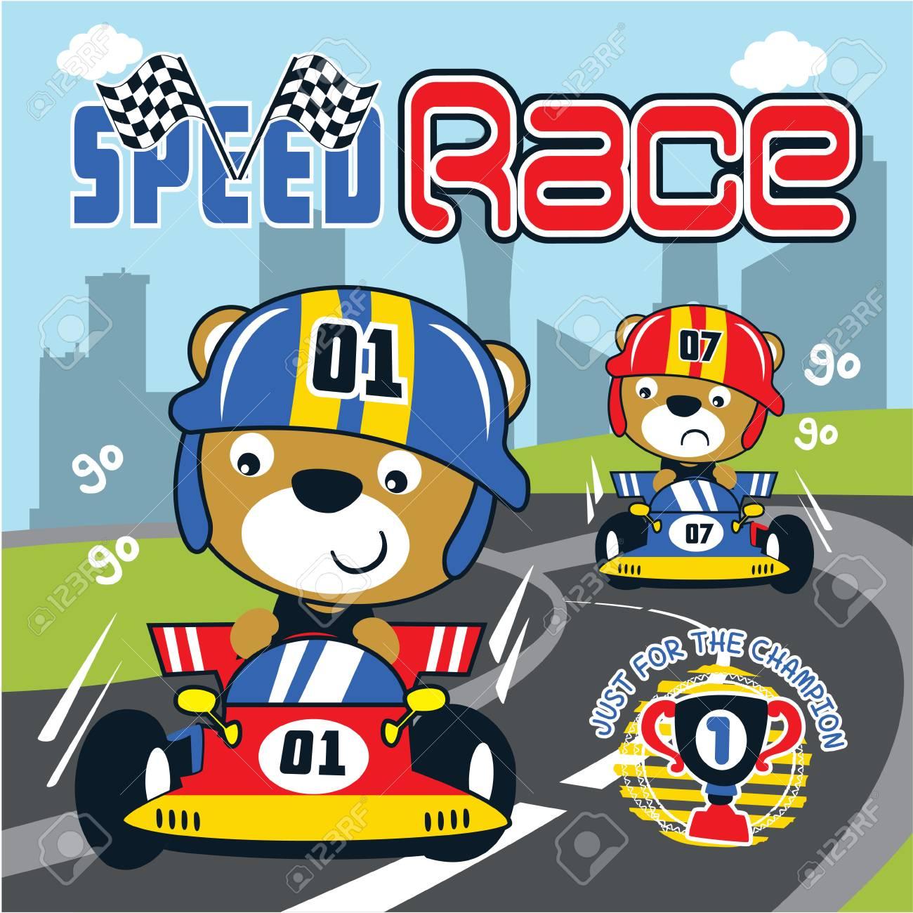 Racing Car Cartoon Vector Royalty Free Cliparts Vectors And Stock