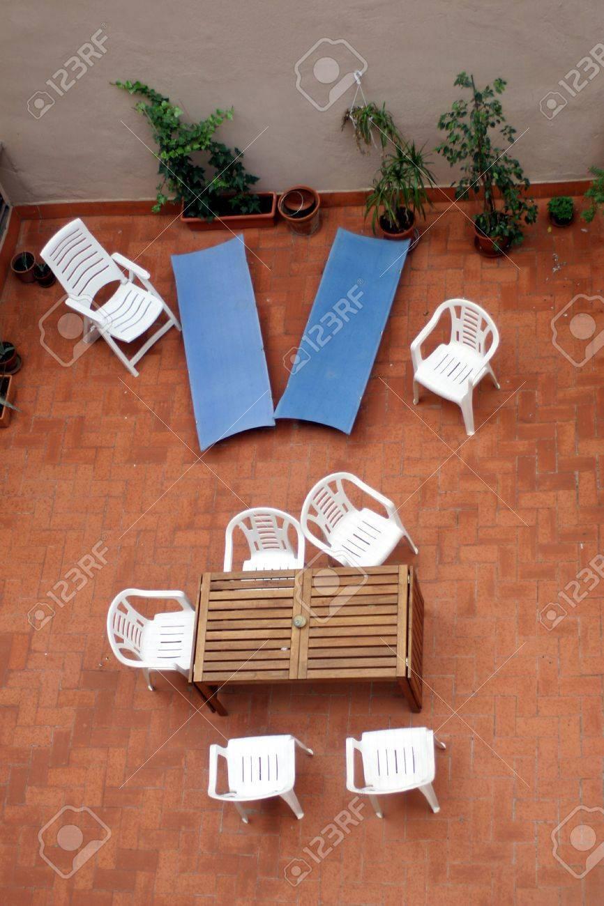 terrace top view. Summer sun bathing Stock Photo - 503400