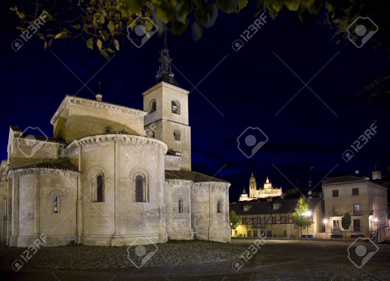 Segovia church with night illumination