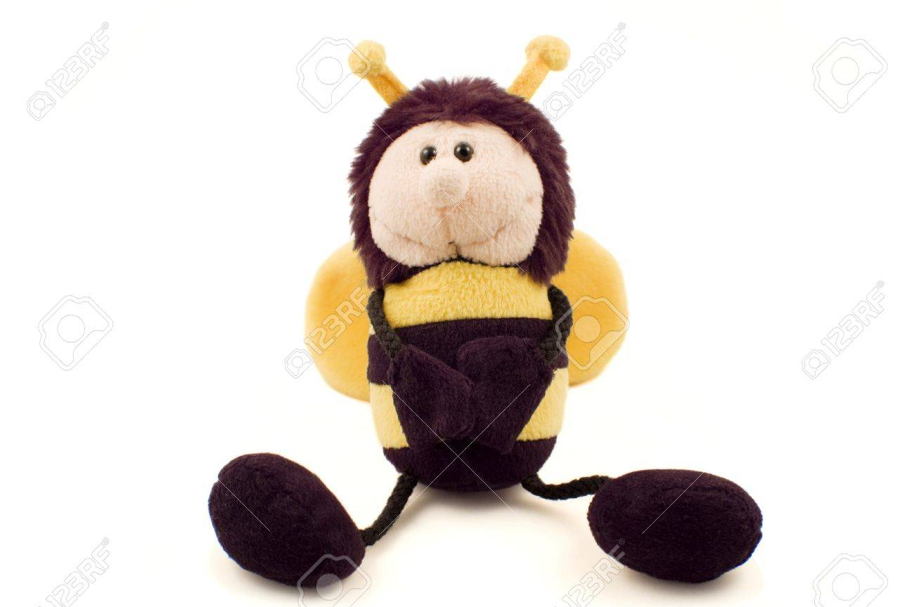Plush Bumble Bee Soft Toy In A Sitting Pose Isolated On White Stock