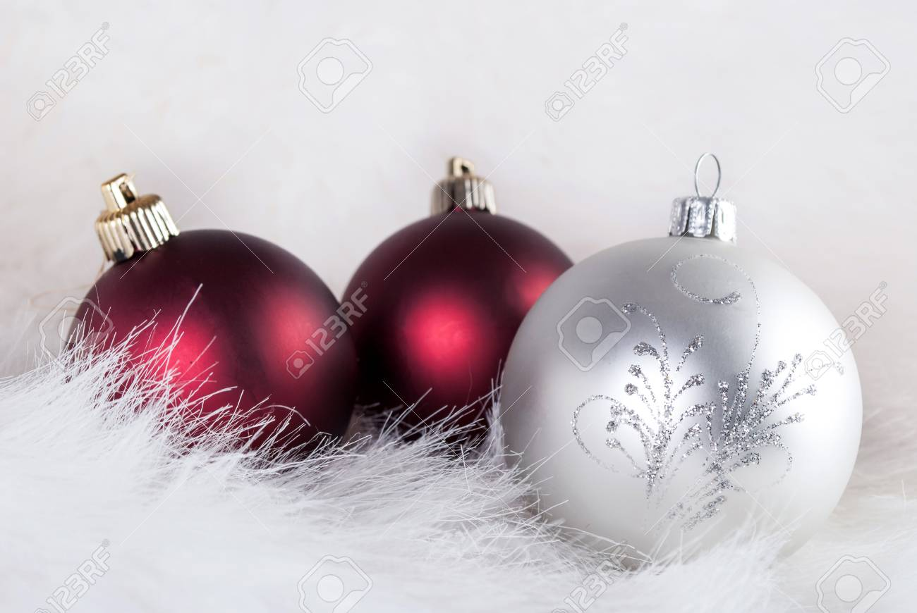 Christmas Decorations On A Puffy White Fur, Red And White, Close ...