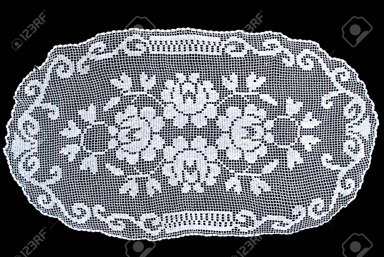 Beauty Cream Oval Lace Tablecloth Isolated On Black Background, Floral  Pattern Stock Photo   92039765
