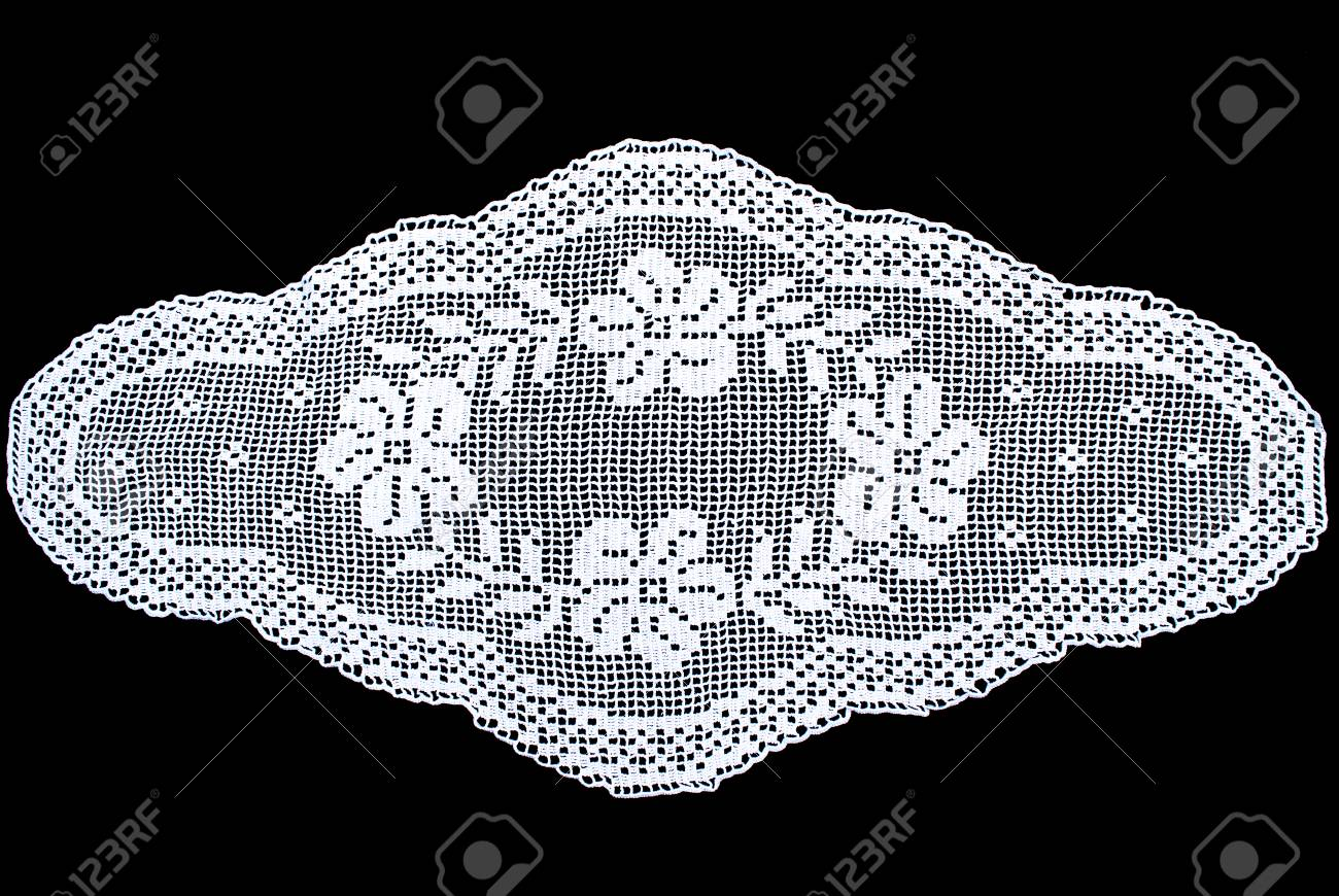 Beauty White Oval Lace Tablecloth Isolated On Black Background, Floral  Pattern Stock Photo   92039769