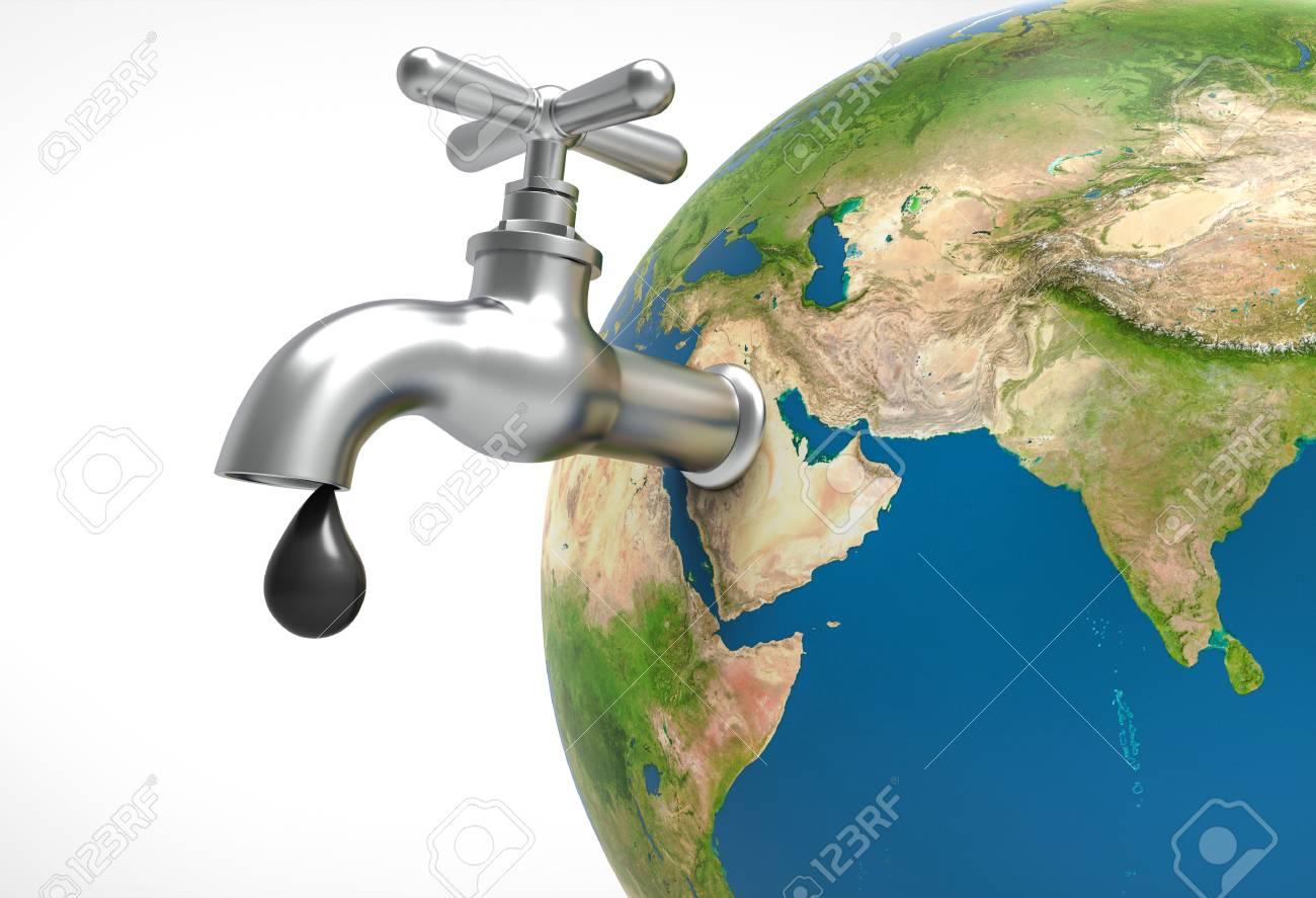Ltropfen Undicht Und Wasserhahn Auf Erde Planeten öl Und