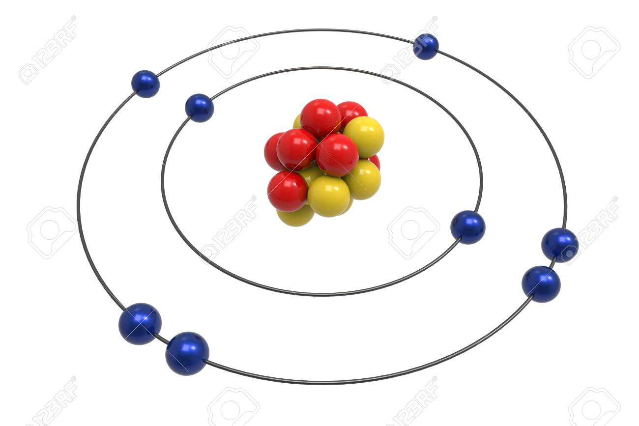 Bohr Model Of Oxygen Atom With Proton Neutron And Electron Stock