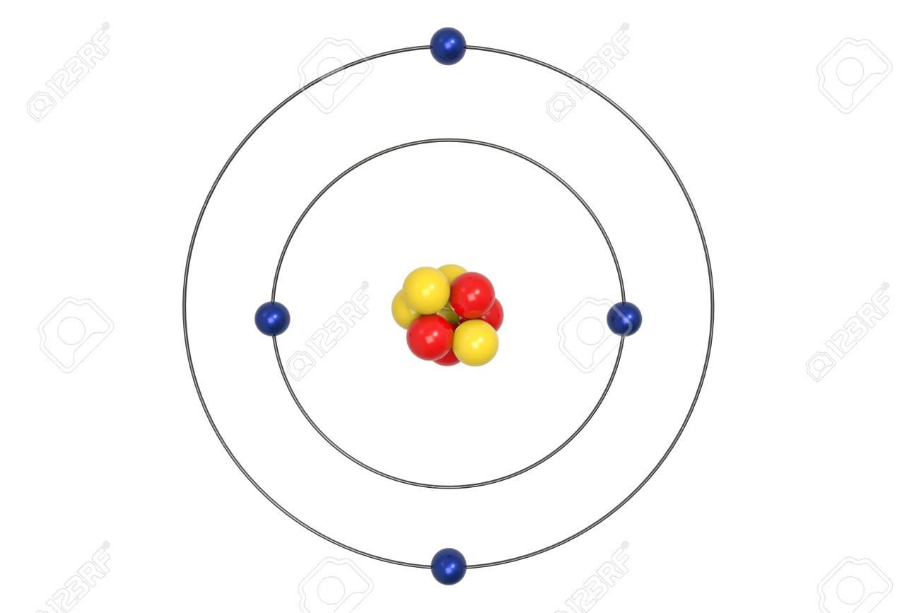 beryllium atom bohr model with proton, neutron and electron  3d  illustration stock illustration -