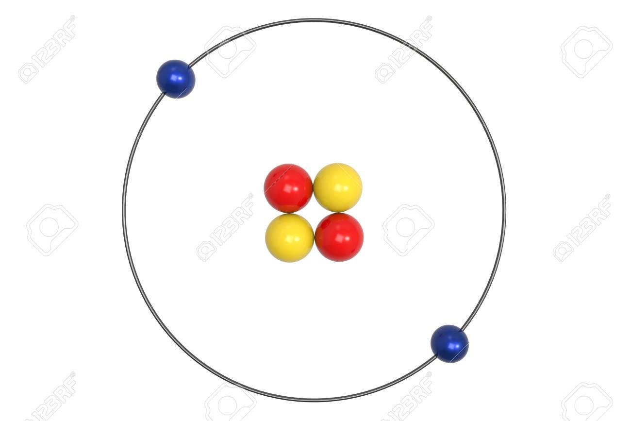 Helium Atom Bohr Model With Proton Neutron And Electron 3d Stock