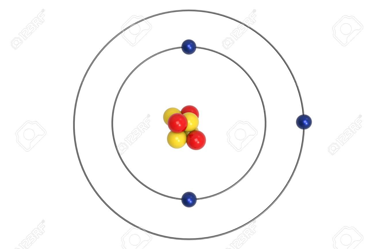 Lithium Bohr Diagram.Stock Illustration