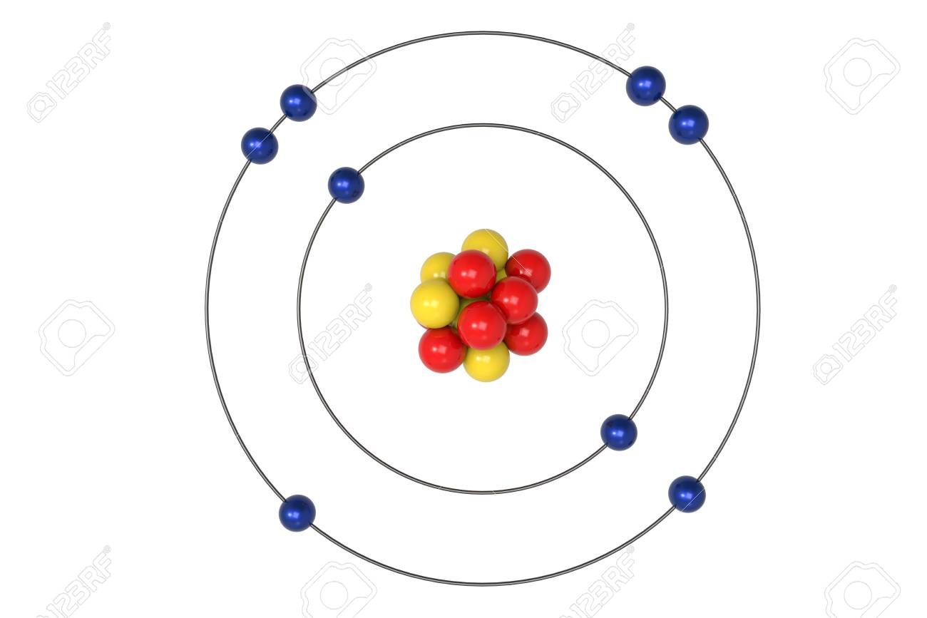 Oxygen atom bohr model with proton neutron and electron 3d oxygen atom bohr model with proton neutron and electron 3d illustration stock illustration pooptronica Gallery
