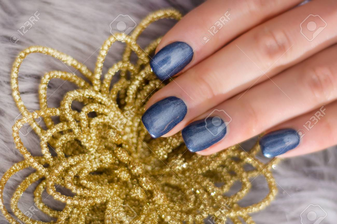 Woman Hand With Navy Blue Nails Polish Gel On Fingernails And ...