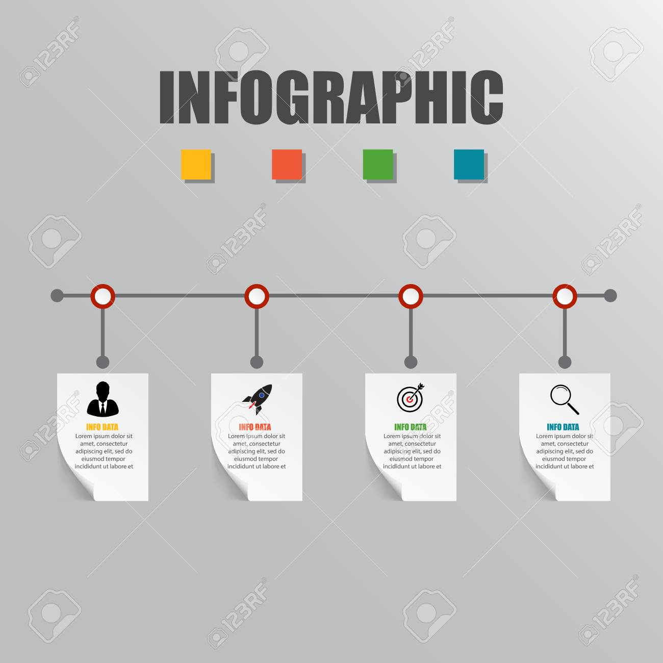 Business concept timeline infograph template realistic paper business concept timeline infograph template realistic paper 4 steps infographic vector banner can accmission Gallery