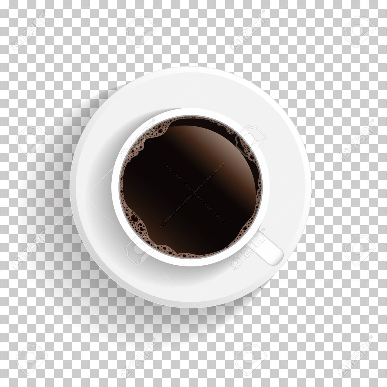 Realistic Top View White Coffee Cup And Saucer Isolated On Transparent Royalty Free Cliparts Vectors And Stock Illustration Image 91509397