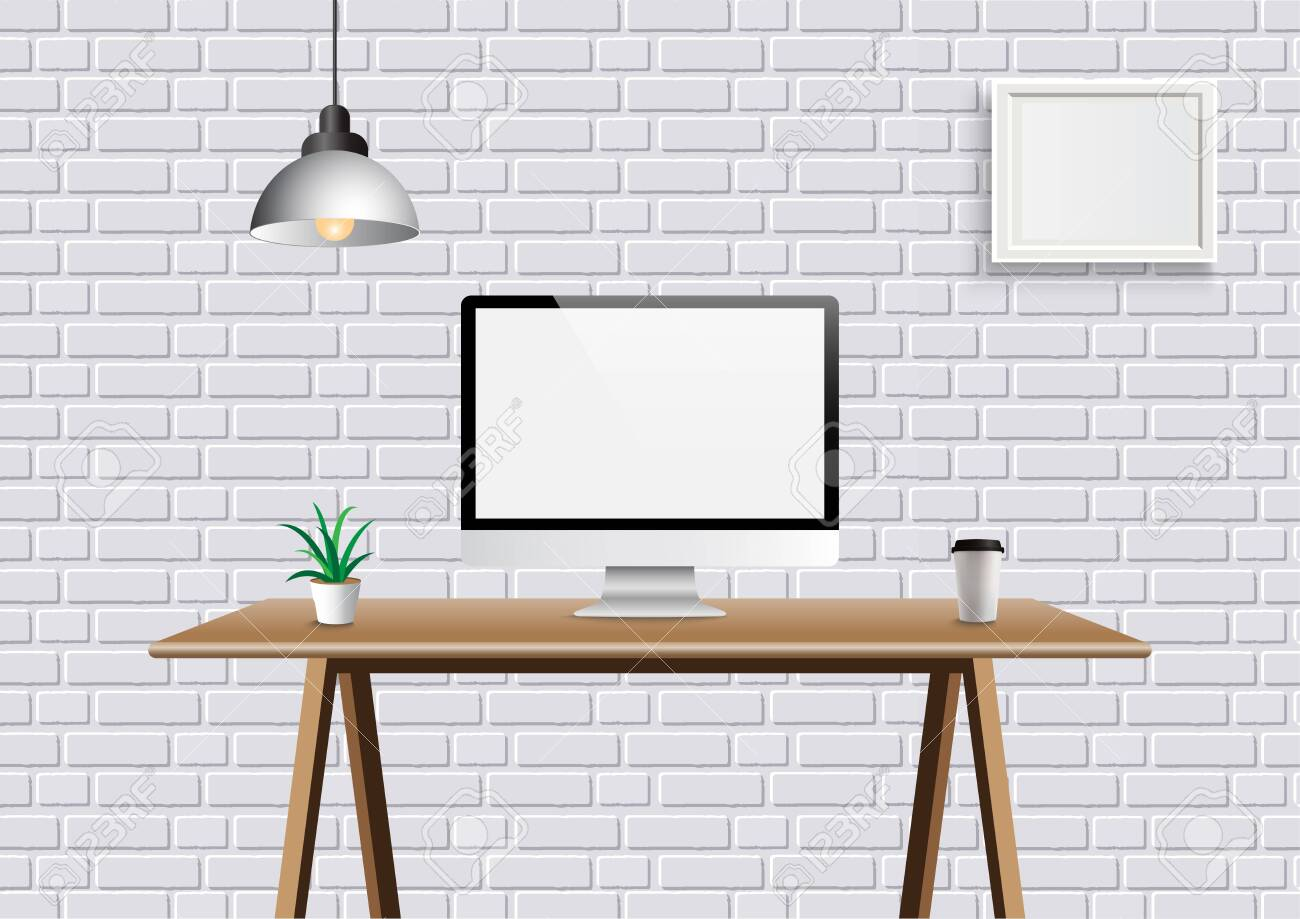 Realistic Vector Office Creative Space With Display On Desk Table Royalty Free Cliparts Vectors And Stock Illustration Image 134788905