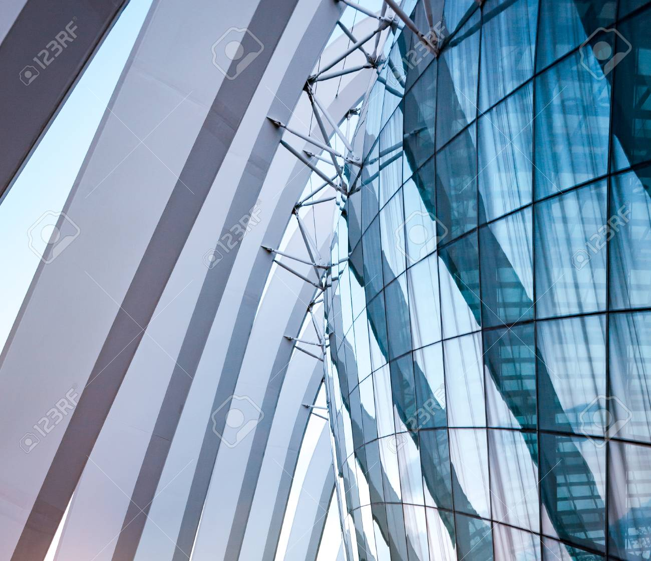 Glass And Steel Framing Design Of Modern Architecture Stock Photo ...