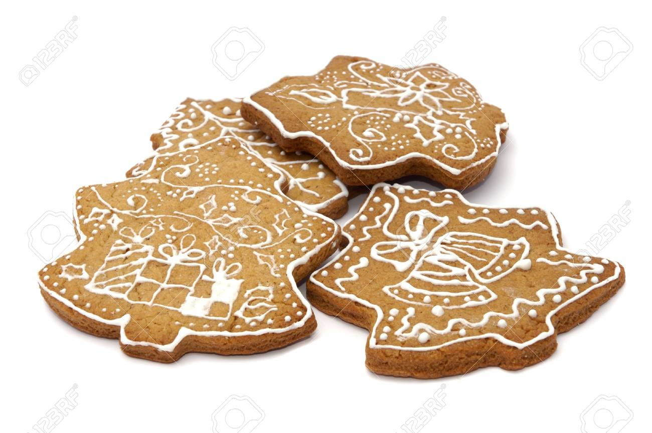 Homemade gingerbread christmas cookies stars and trees Stock Photo - 5889618