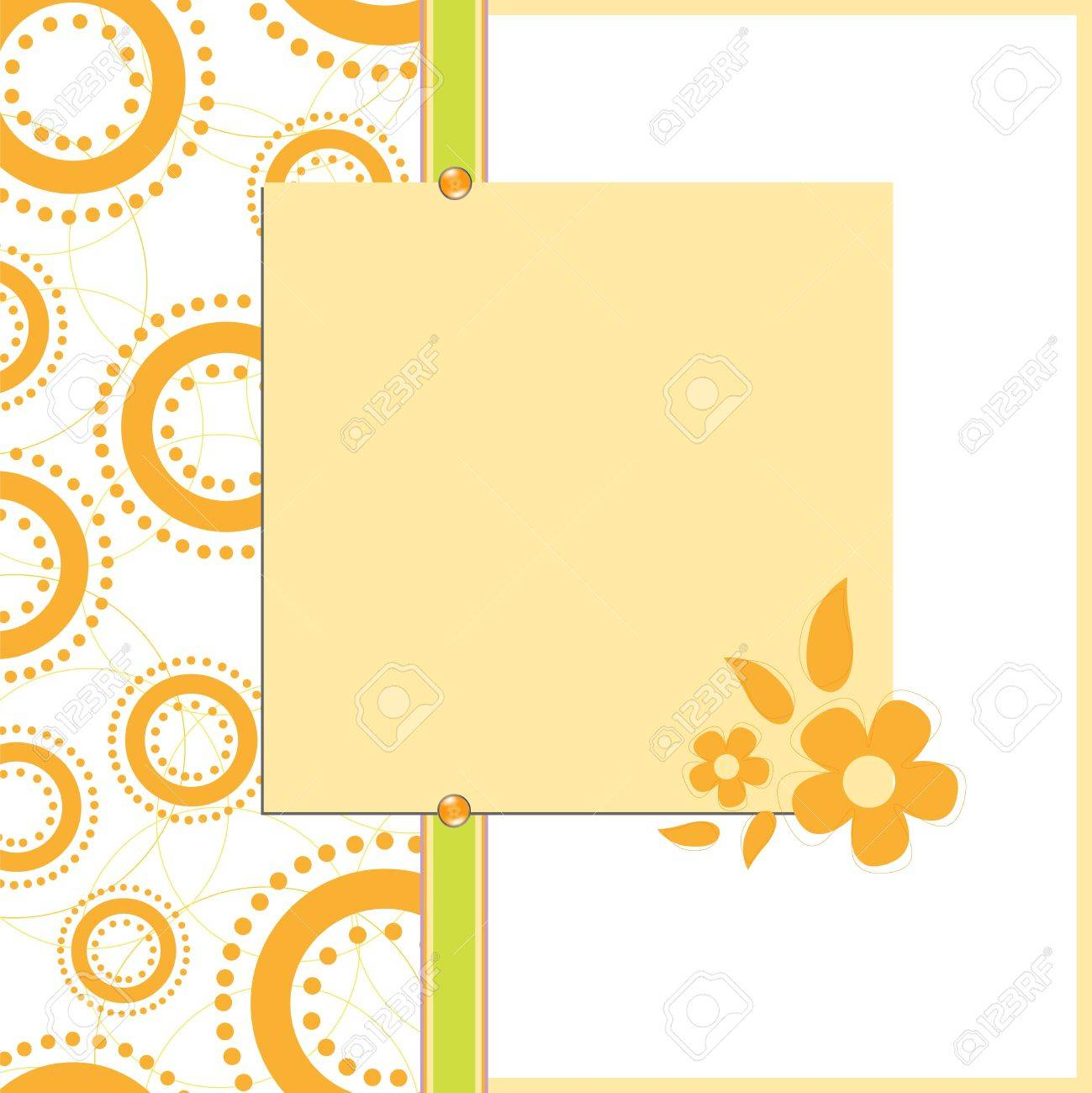 Blank Template For Orange Greetings Card, Postcard Or Photo Farme ...
