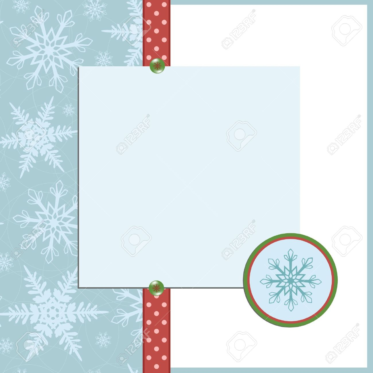 Blank Template For Christmas Greetings Card Postcard Or Photo