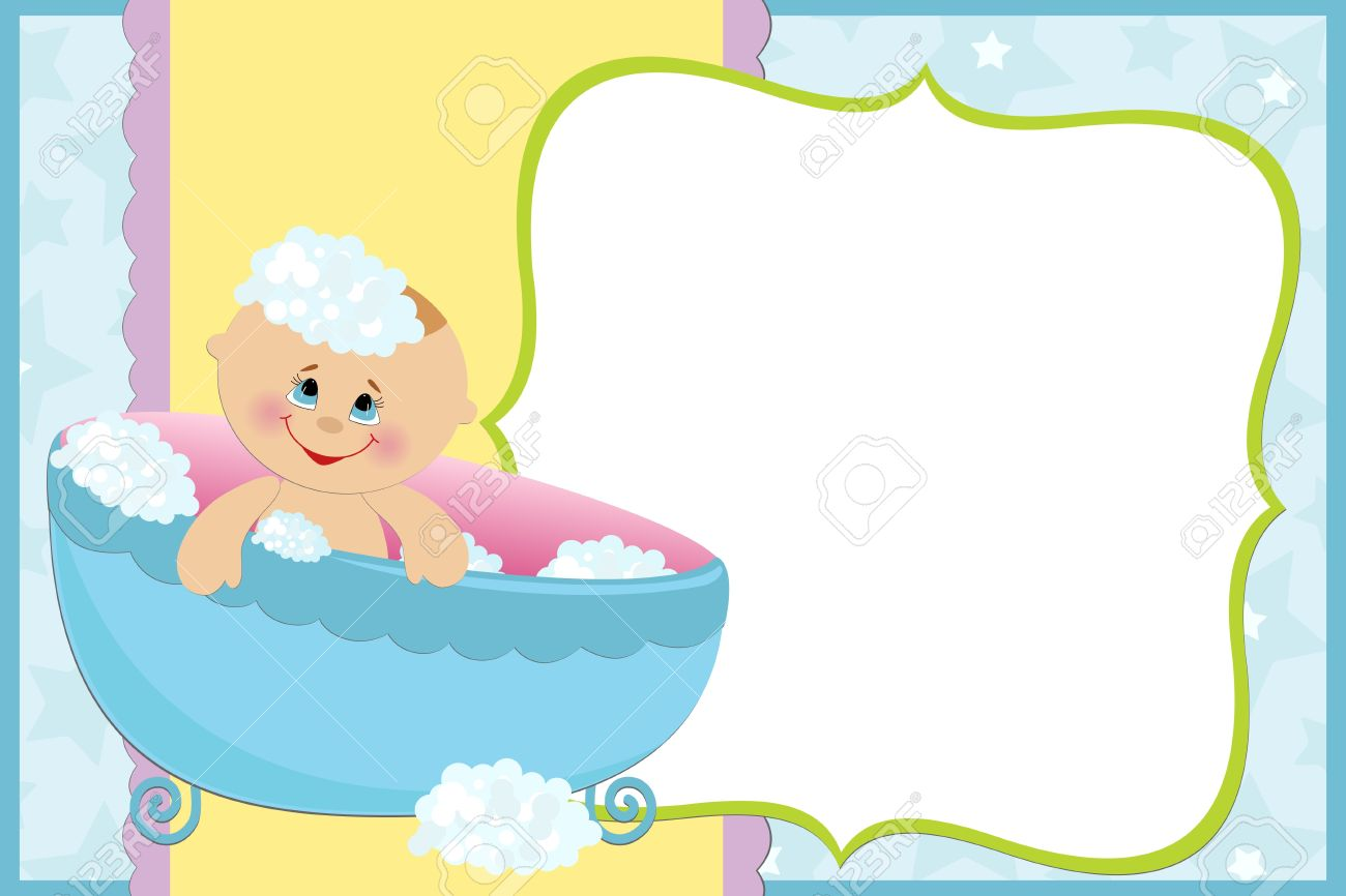 Blank Template For Babys Greetings Card Or Photo Frame In Blue – Free Blank Greeting Card Templates