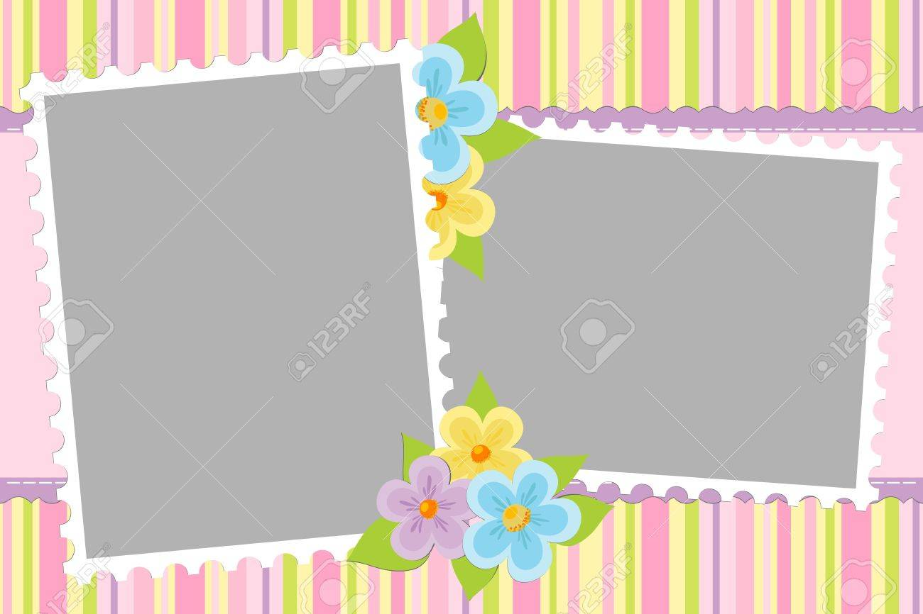 Blank Template For Babys Greetings Card Or Photo Frame In Pink – Free Blank Birthday Card Templates