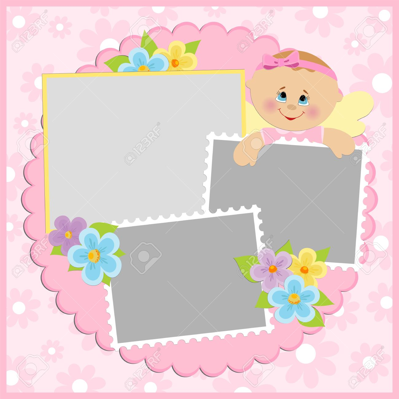 Template for baby's photo album or postcard Stock Vector - 8181411