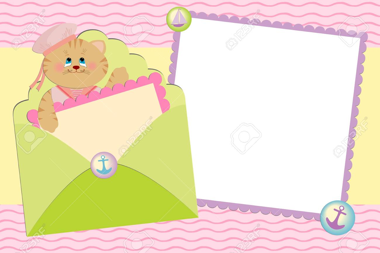 Blank template for greetings card or photo frame in pink colors Stock Vector - 8181414