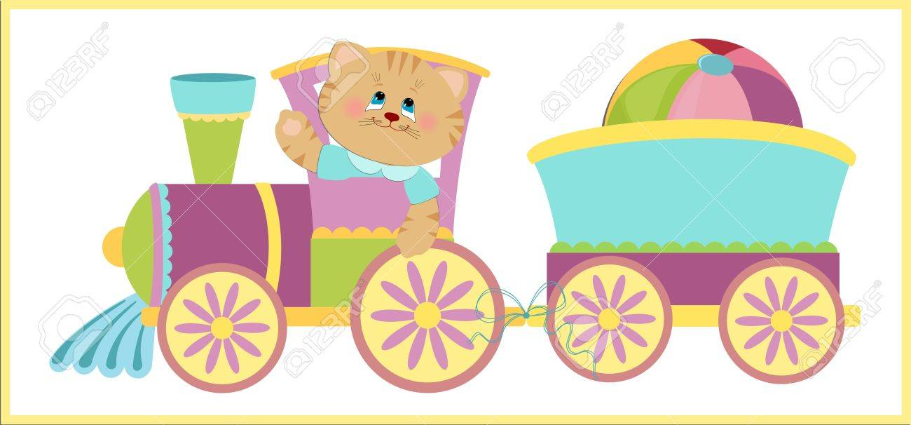baby u0027s illustration with kitty and blue train royalty free