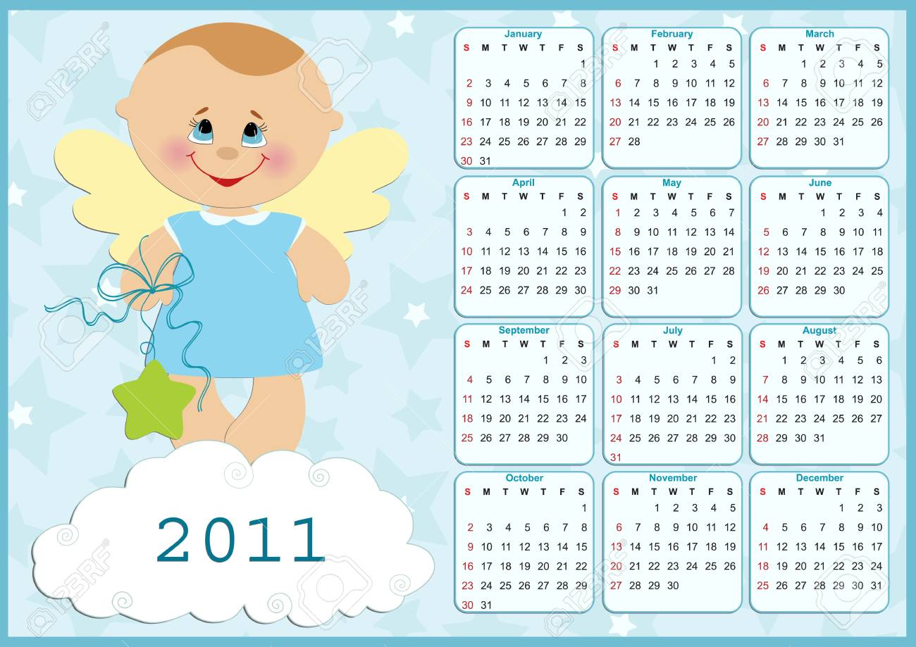 Baby's calendar for year 2011 Stock Vector - 8265288