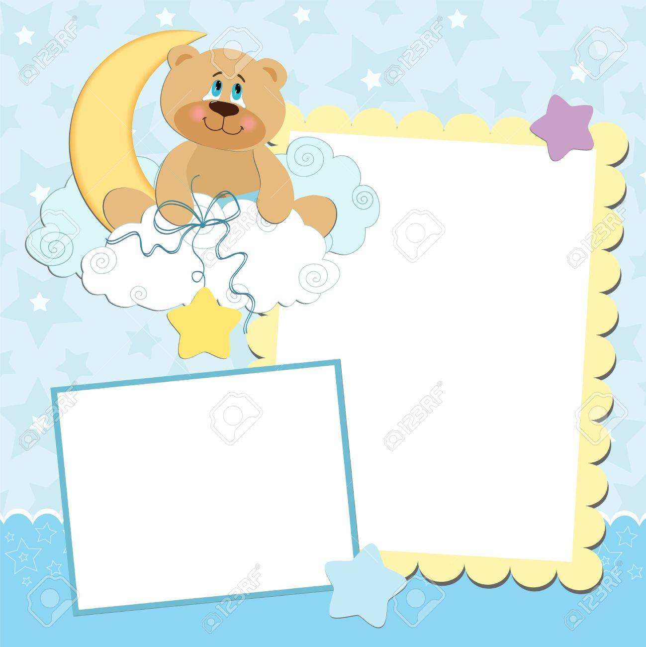 Blank Template For Greetings Card Or Photo Frame In Blue Colors – Free Blank Greeting Card Templates