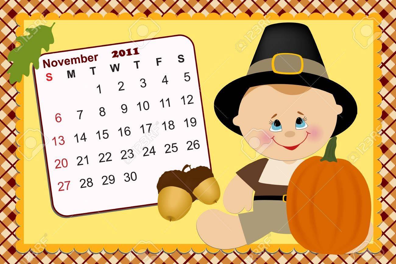 Baby's monthly calendar for novmber 2011 Stock Vector - 8265275