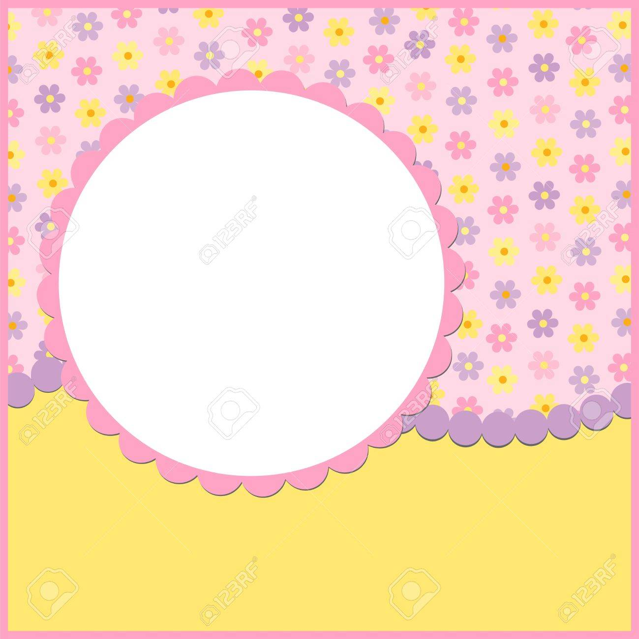 Blank Template For Greetings Card Or Photo Frame In Pink Colors – Free Blank Greeting Card Templates