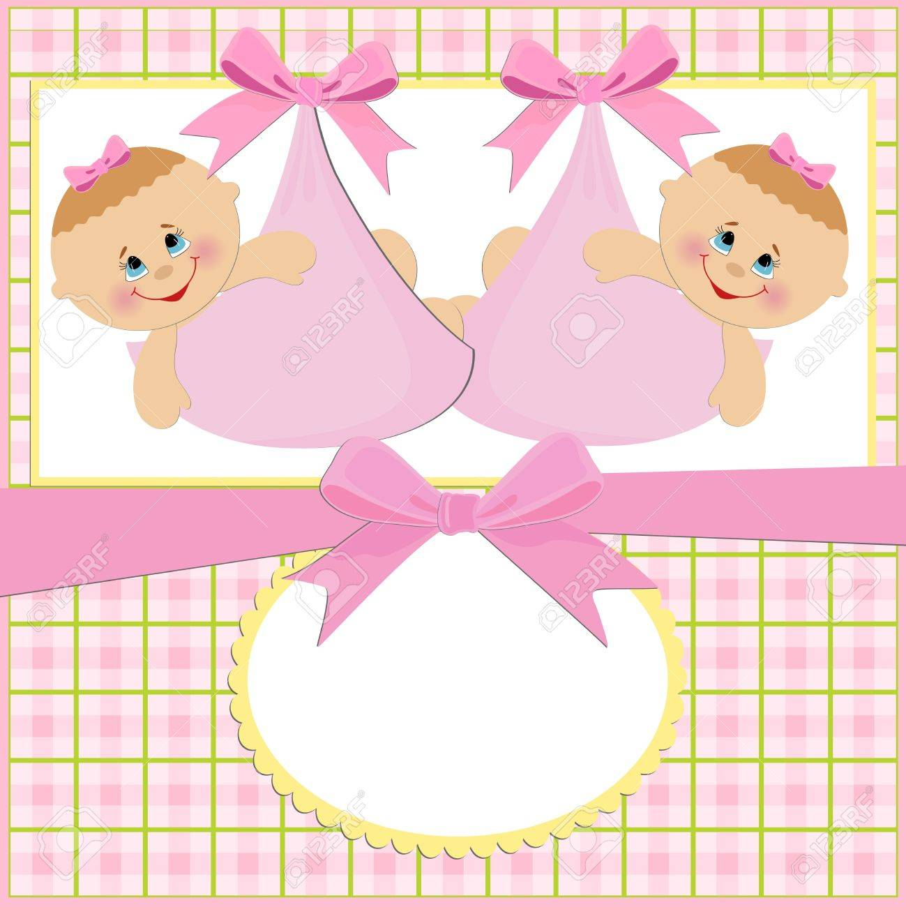 Baby greetings card with twins girls - 8265204