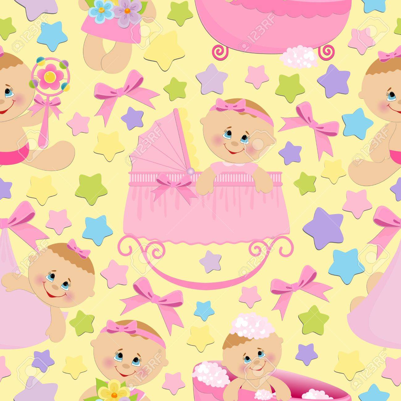 Seamless background with baby girls Stock Vector - 8265273