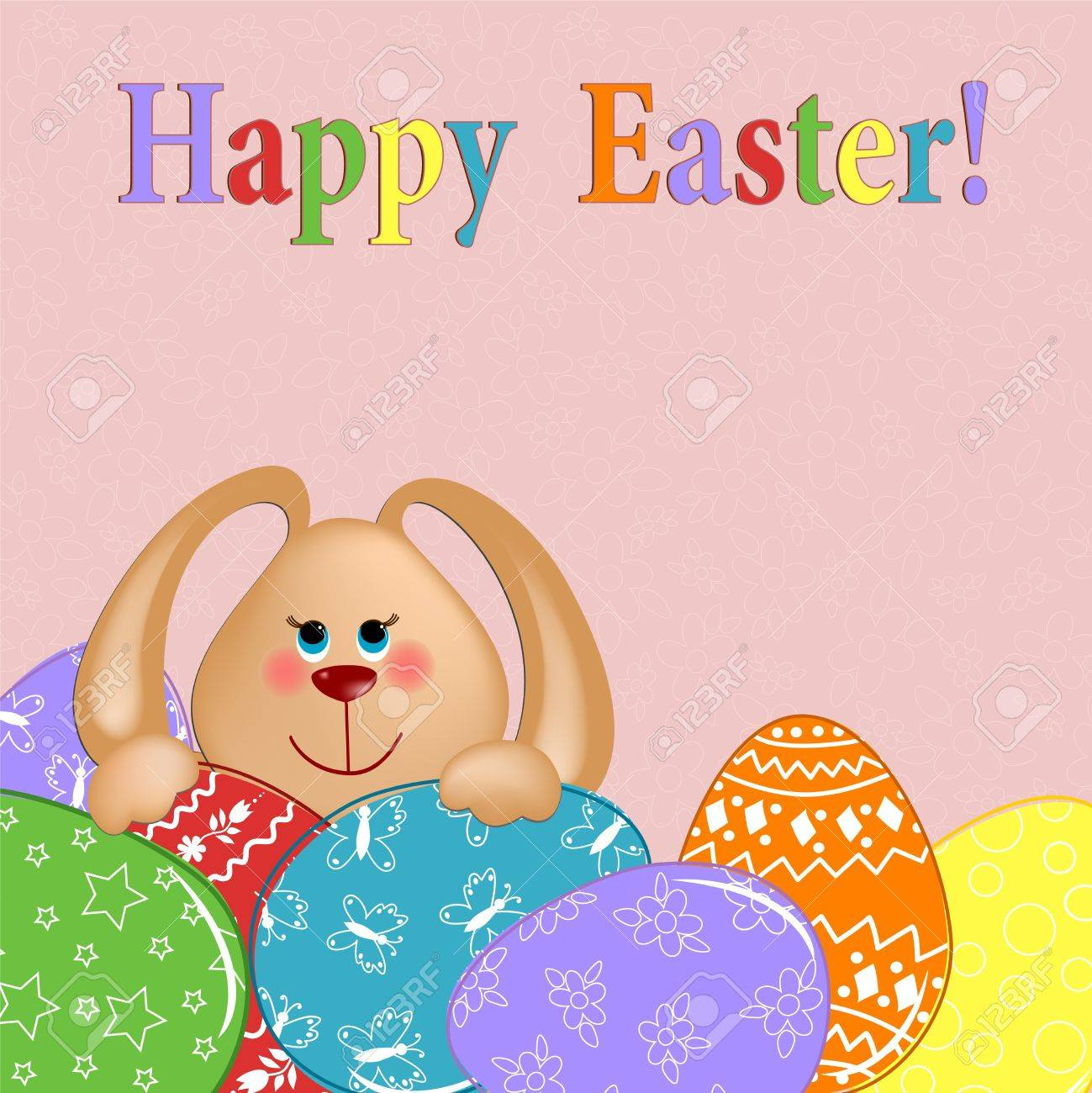 Easter greetings card with rabbit and painted eggs Stock Vector - 9117177