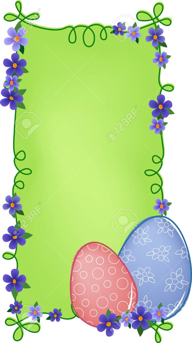 Easter banner or greetings card with painted eggs, flowers and text field (EPS10) Stock Vector - 9117134