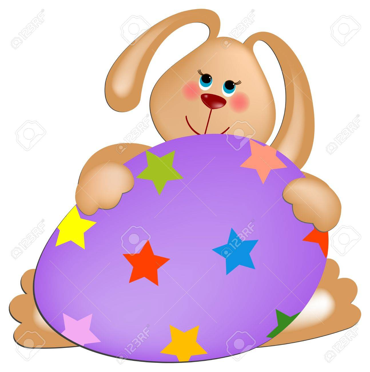 Easter rabbit with violet painted egg Stock Vector - 9124415