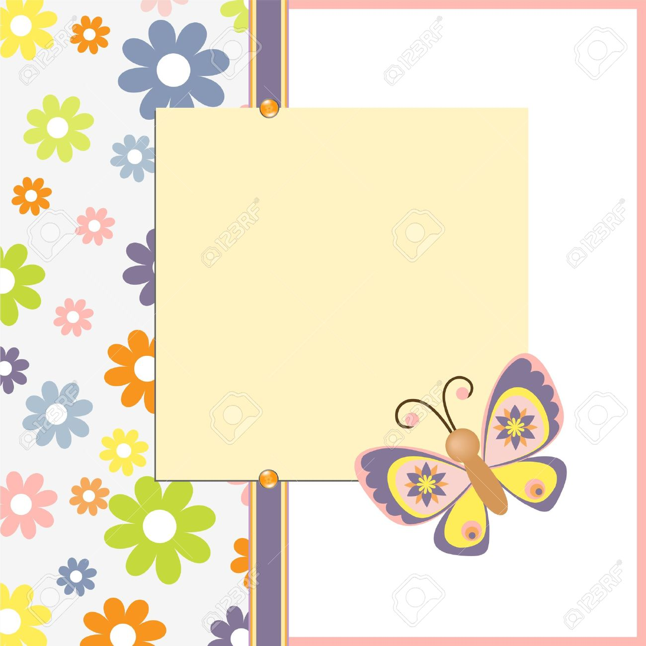Cute Template For Easter Spring Greetings Card Royalty Free – Easter Postcard Template