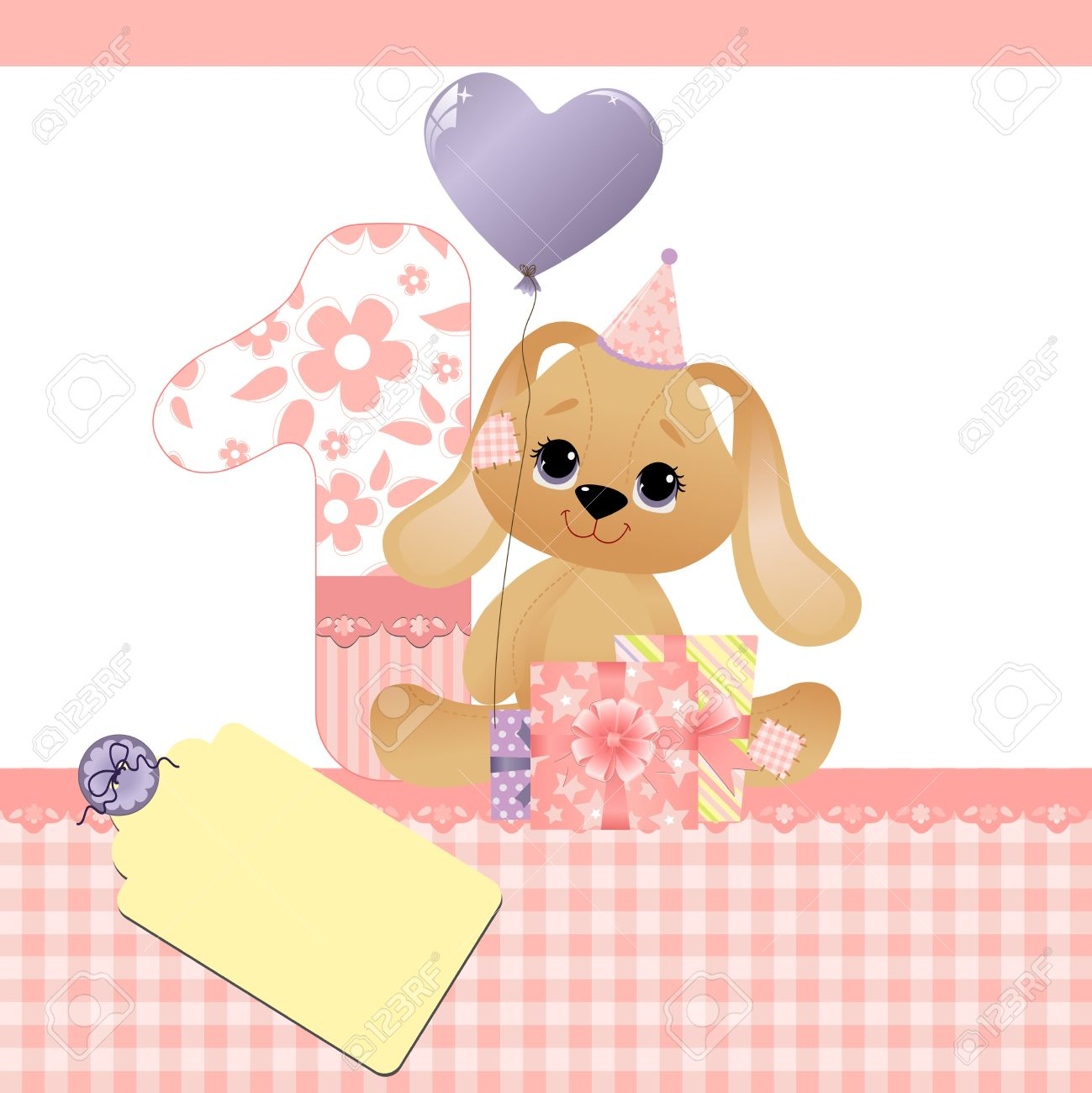 cute template for baby birthday card royalty free cliparts, Birthday card