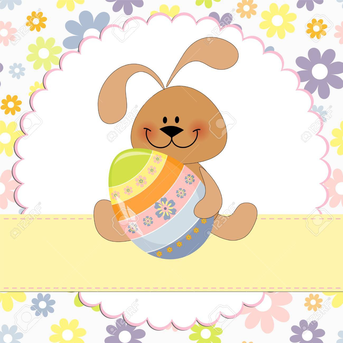 Cute Template For Easter Greetings Card With Rabbit Royalty Free – Easter Greeting Card Template
