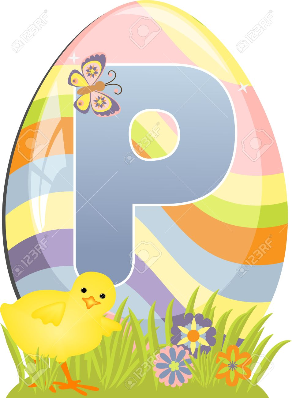 Cute Initial Letter P For Easter Design