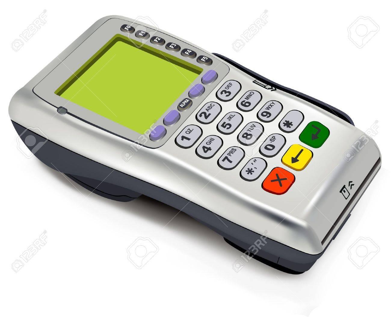 Photorealistic illustration of modern wireless POS-terminal Stock Vector - 9541232