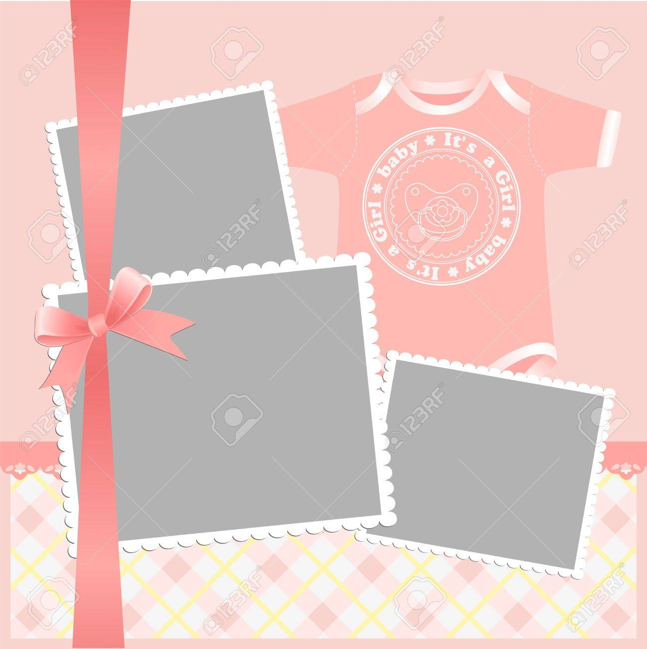 Cute template for baby's arrival announcement card or photo frame Stock Vector - 10475067