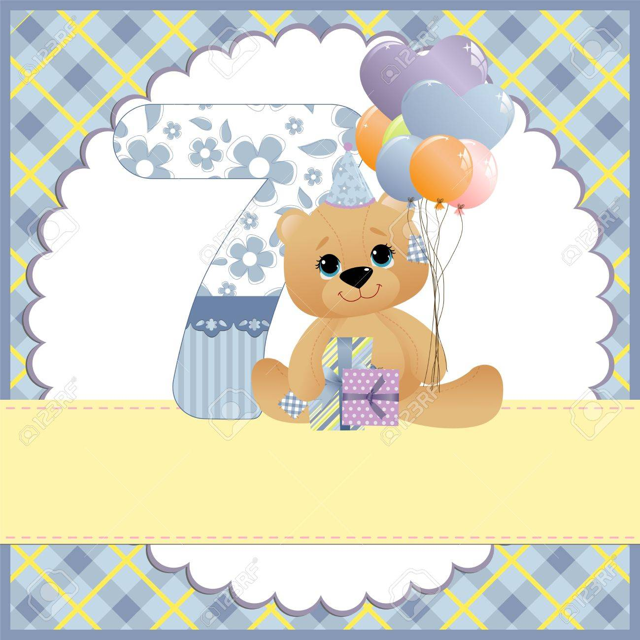 Cute template for baby birthday card Stock Vector - 10475109