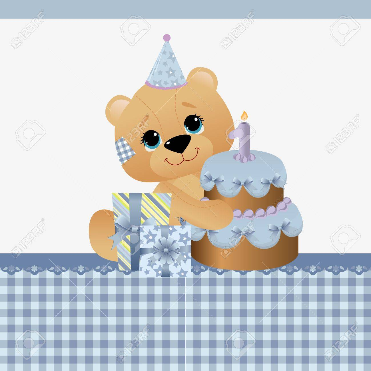 Cute Template For Baby Birthday Greetings Card Royalty Free – Cute Birthday Greeting Cards
