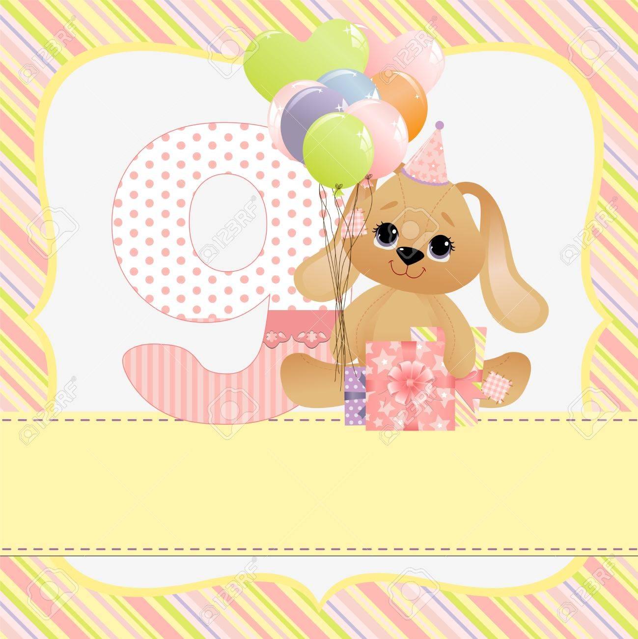 Linda Plantilla De Tarjeta De Cumpleaños De Bebé Ilustraciones ...