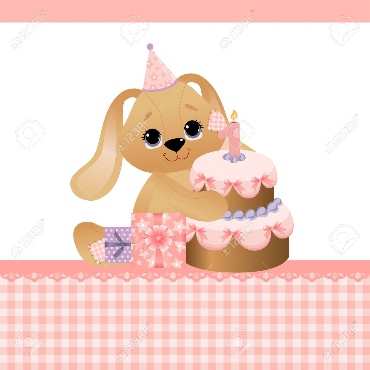 Cute Template For Baby Birthday Greetings Card Royalty Free Cliparts