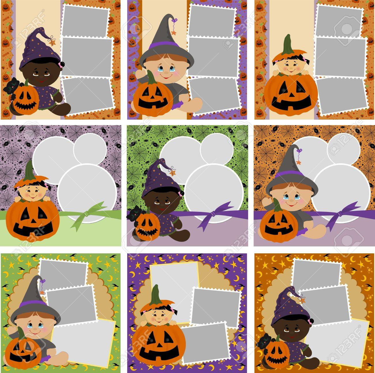 collection of halloween photo frames stock vector 10533877