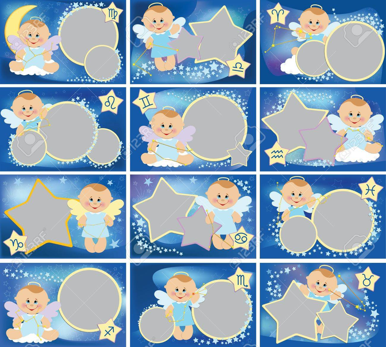 collection of photo frames with zodiac signs stock vector 10533872