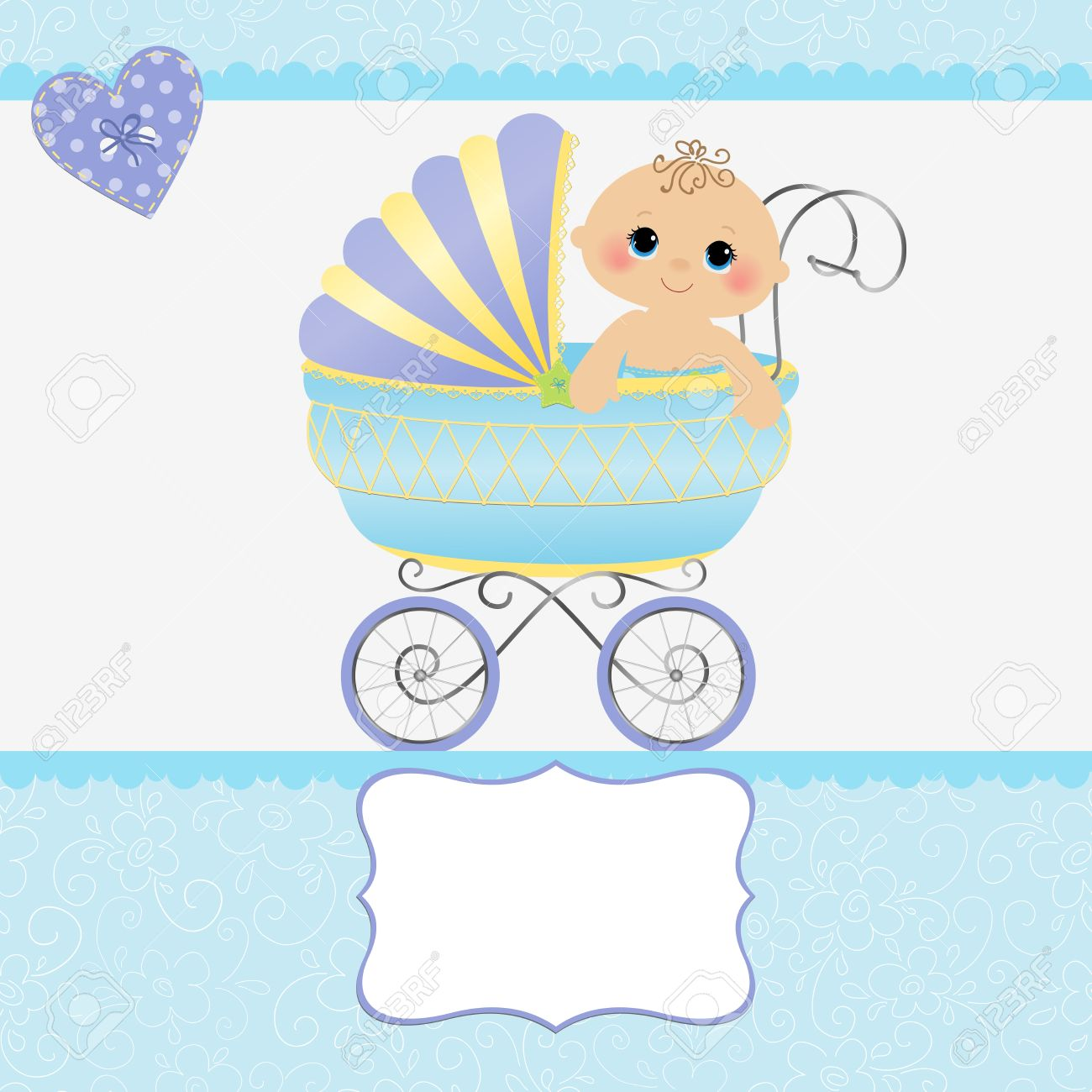 Cute template for baby arrival announcement card Stock Vector - 15092549