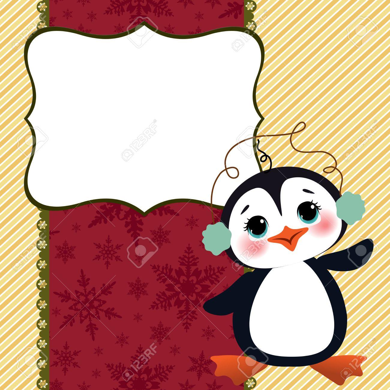 cute christmas new year postcard template stock vector 15786790
