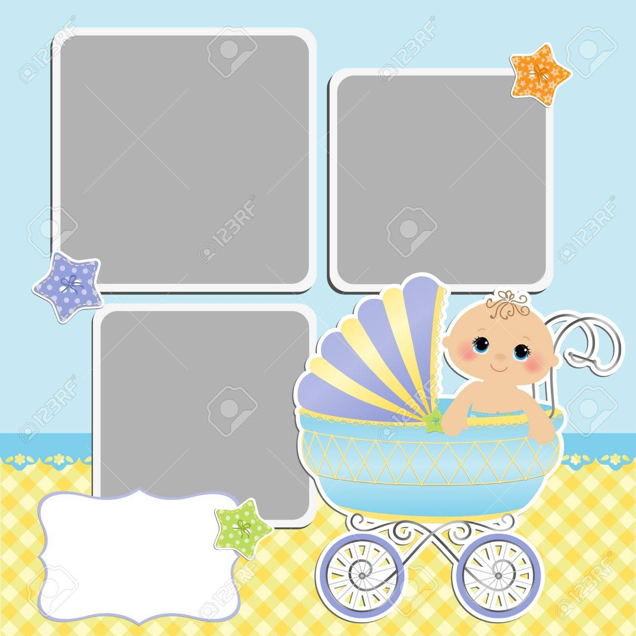 Cute template for baby s card - 15934658